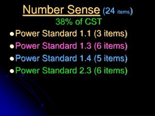 Number Sense (24  items ) 38% of CST