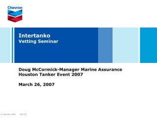 Intertanko Vetting Seminar