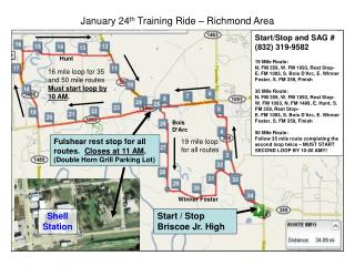 January 24 th  Training Ride – Richmond Area
