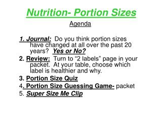 Nutrition- Portion Sizes