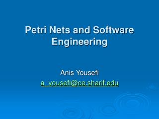 Petri Nets and Software Engineering