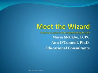 Meet the Wizard Planning Lessons and Implementing the IEP