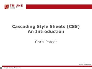 Cascading Style Sheets (CSS)  An Introduction