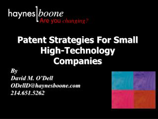 Patent Strategies For Small High-Technology Companies