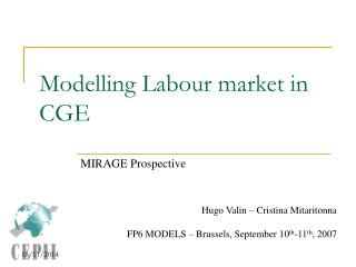 Modelling Labour market in CGE