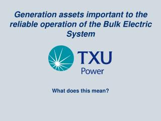 Generation assets important to the reliable operation of the Bulk Electric System