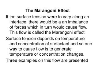 The Marangoni Effect