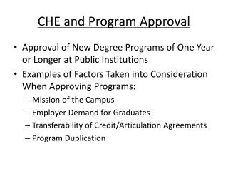 CHE and Program Approval