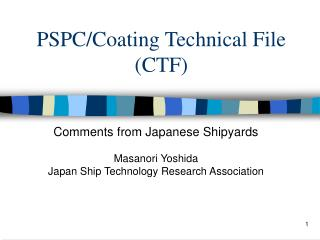 PSPC/Coating Technical File (CTF)