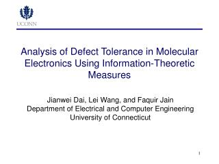 Analysis of Defect Tolerance in Molecular Electronics Using Information-Theoretic Measures