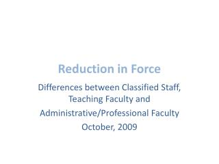 Reduction in Force
