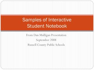 Samples of Interactive  Student Notebook