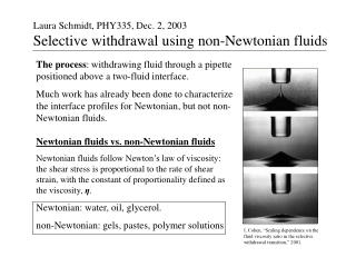 Laura Schmidt, PHY335, Dec. 2, 2003 Selective withdrawal using non-Newtonian fluids