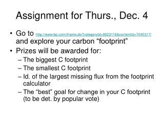 Assignment for Thurs., Dec. 4