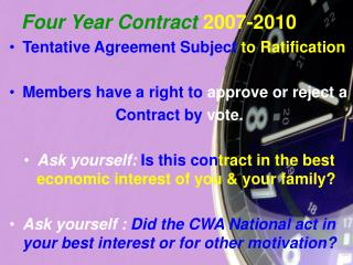 Four Year Contract 2007-2010
