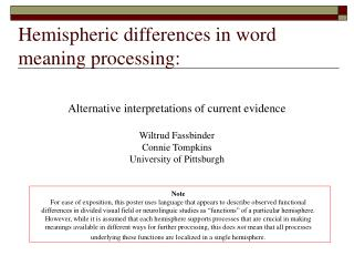 Hemispheric differences in word meaning processing:
