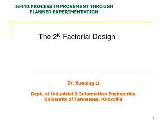 The 2 K  Factorial Design