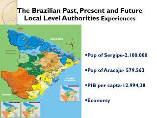 Pop  of  Sergipe-2.100.000 Pop of Aracaju- 579.563 PIB per capta-12.994,38 Economy