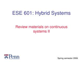 ESE 601: Hybrid Systems