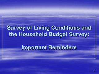 Survey of Living Conditions and the Household Budget Survey: Important Reminders