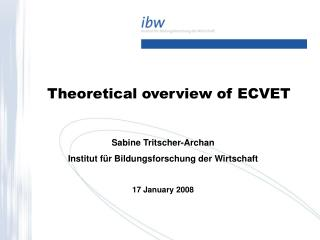 Theoretical overview of ECVET