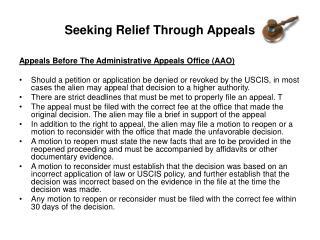 Seeking Relief Through Appeals