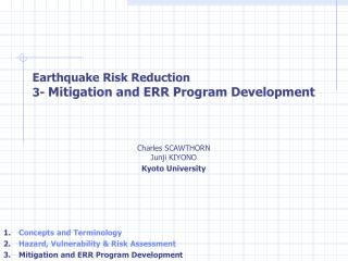 Earthquake Risk Reduction   3-  Mitigation and ERR Program Development