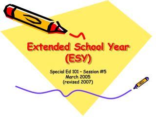 Extended School Year (ESY)
