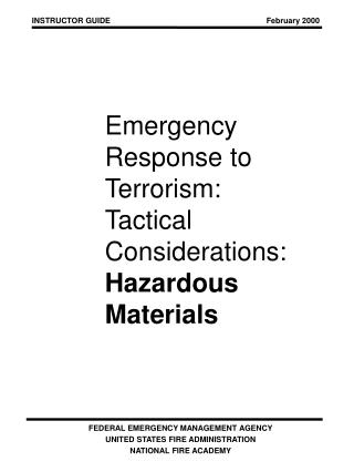 Emergency  Response to  Terrorism: Tactical Considerations: Hazardous Materials