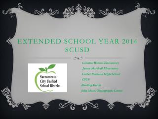 Extended School Year 2014 SCUSD
