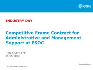 Competitive Frame Contract for Administrative and Management Support at ESOC