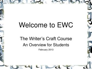 Welcome to EWC