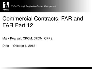 Commercial Contracts, FAR and FAR Part 12