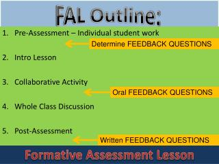 Pre-Assessment – Individual student work Intro Lesson Collaborative Activity
