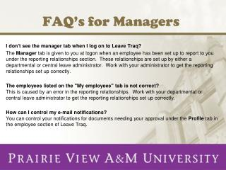FAQ's for Managers
