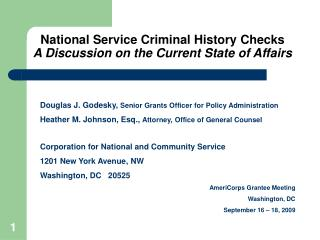 National Service Criminal History Checks A Discussion on the Current State of Affairs