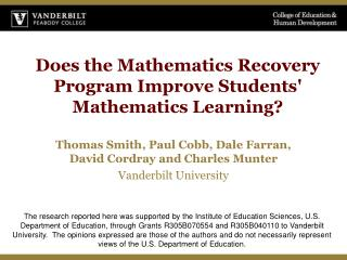 Does the Mathematics Recovery Program Improve Students Mathematics Learning