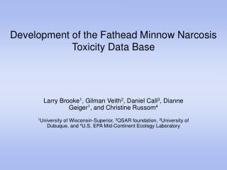 Development of the Fathead Minnow Narcosis Toxicity Data Base