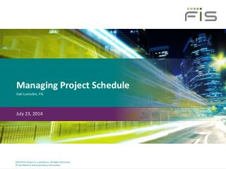 Managing Project Schedule