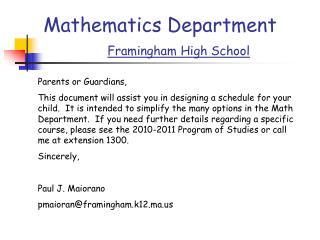 Mathematics Department Framingham High School