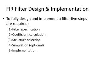 FIR Filter Design & Implementation