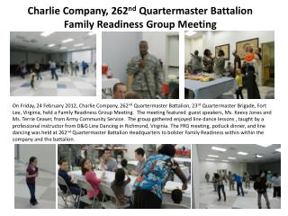 Charlie Company, 262 nd  Quartermaster Battalion Family Readiness Group Meeting
