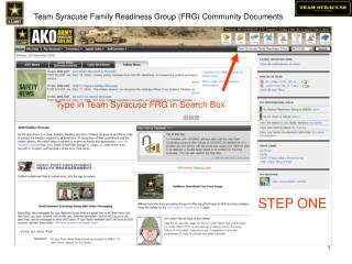 Team Syracuse Family Readiness Group (FRG) Community Documents