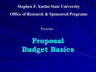 Proposal  Budget Basics
