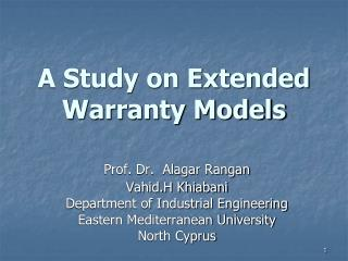 A Study on Extended Warranty Models
