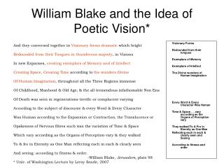 William Blake and the Idea of Poetic Vision*