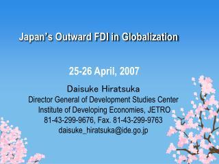 Japan � s Outward FDI in Globalization