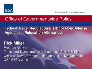 Federal Travel Regulation (FTR) for Non-Defense Agencies – Relocation Allowances