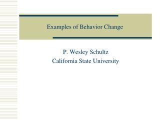 Examples of Behavior Change