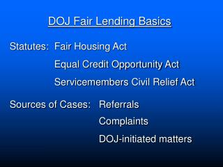 DOJ Fair Lending Basics